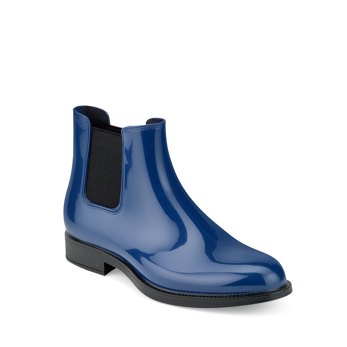 Chelsea boot in bright pvc with elastic band on ankle sides and insole - dark royal colour