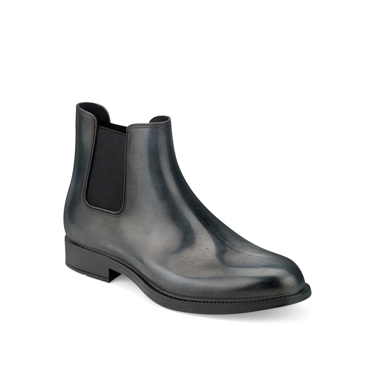 Chelsea boot in brushed effect pvc with elastic band on ankle sides and insole - gray colour