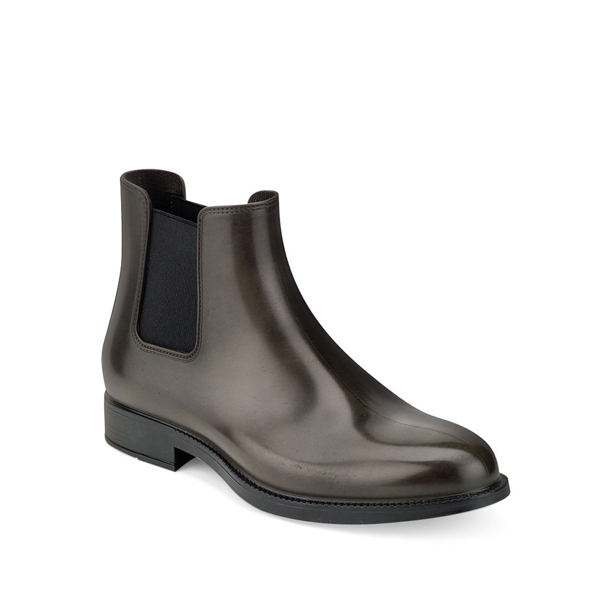 Chelsea boot in brushed effect pvc with elastic band on ankle sides and insole - brown colour