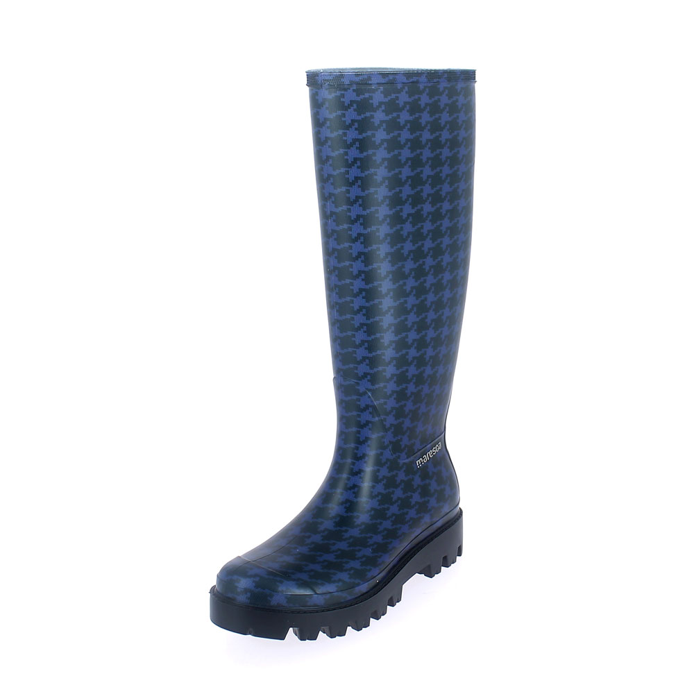 "Matt finish pvc Wellington boot with ""cut and sewn"" inner sock with pattern ""Pied de poule blu"" with lettering; Lug outsole (VIB). Made in Italy"