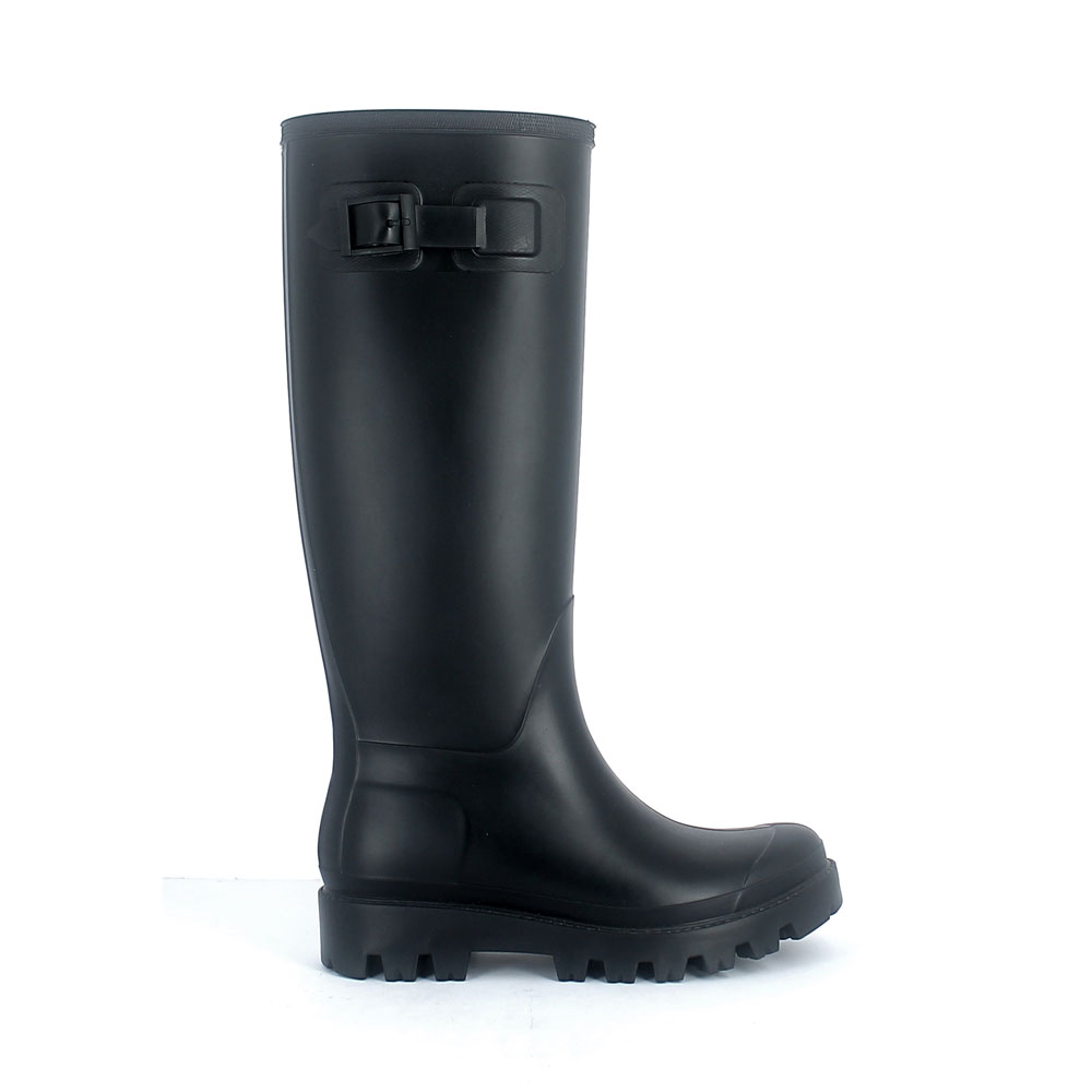 Wellington boot in matt  pvc with buckle on vamp upper side  and classic high lug outsole