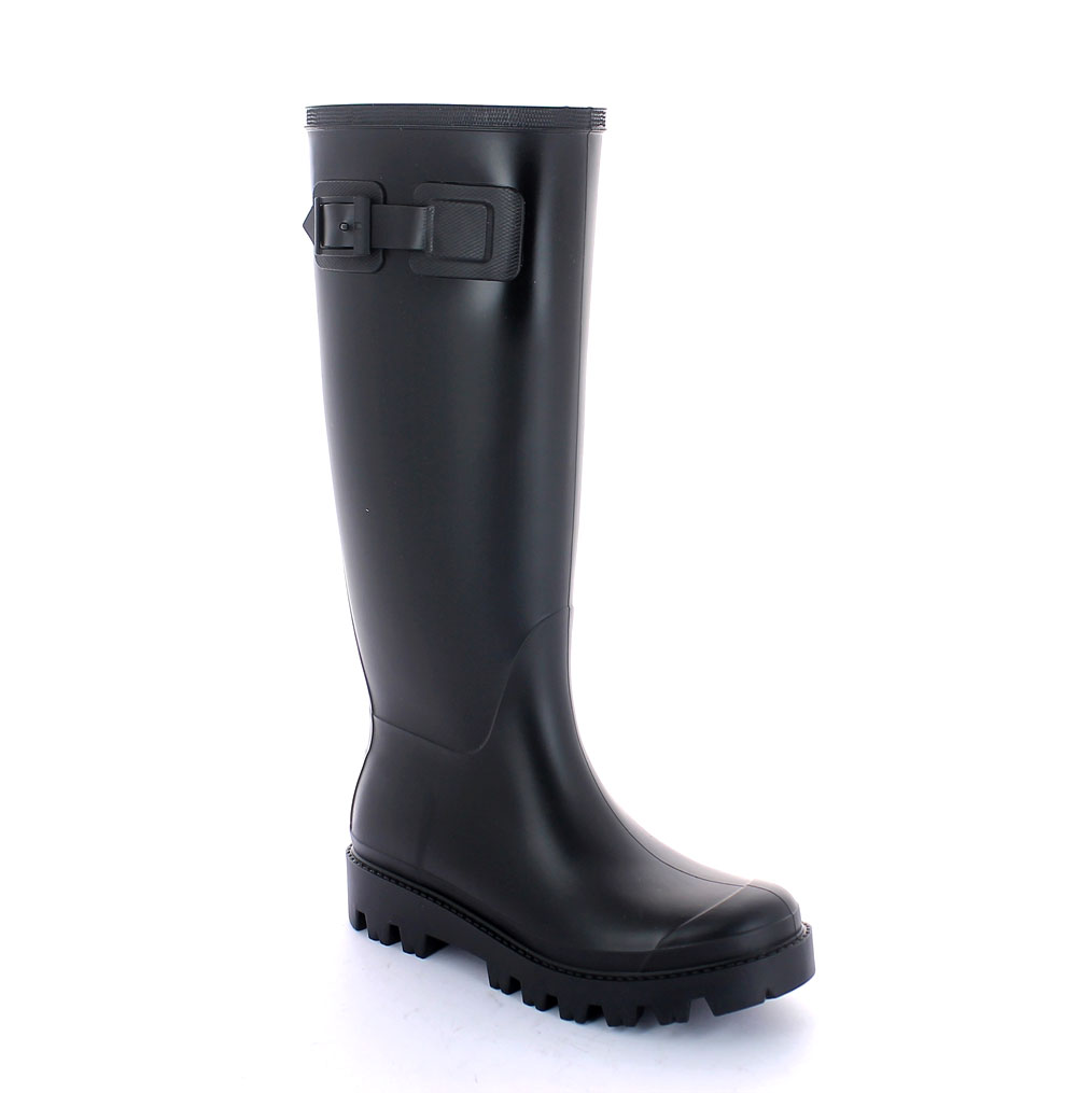 Matt finish pvc Boot with high boot leg and VIB type outsole - plastic strap and buckle