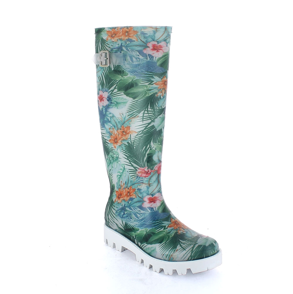 "Matt finish pvc Wellington boot with lateral strap and ""cut and sewn"" inner sock with pattern ""Green Tropical Flowers""; metal buckle and lug outsole (VIB)"