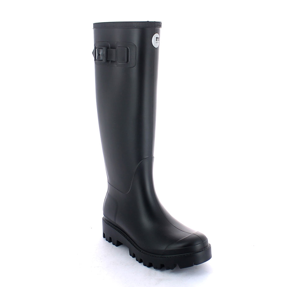 Matt finish pvc Wellington boot with lateral strap and  pad printing on the boot leg; metal buckle and lug outsole (VIB outsole)