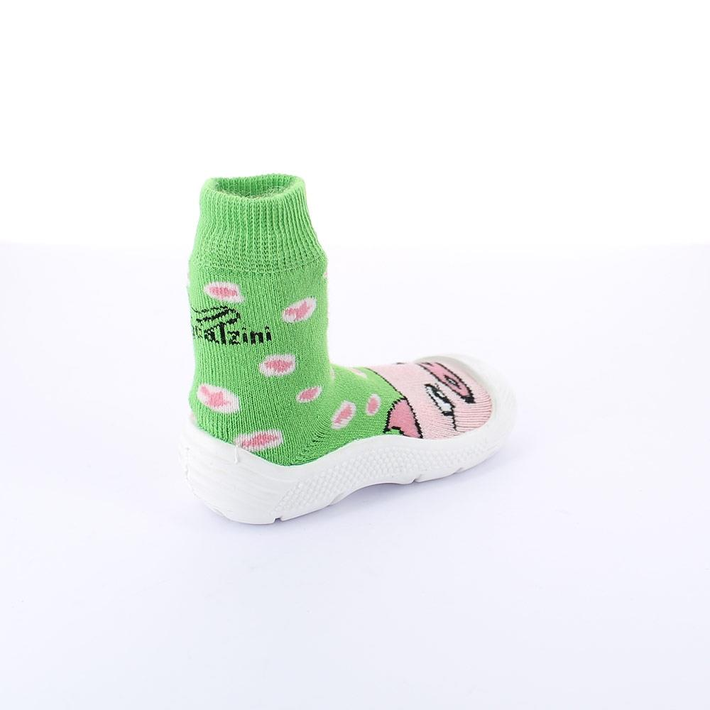 "Cotton sock with non slip TR Rubber outsole. Pattern ""maialino"" (=piglet)"