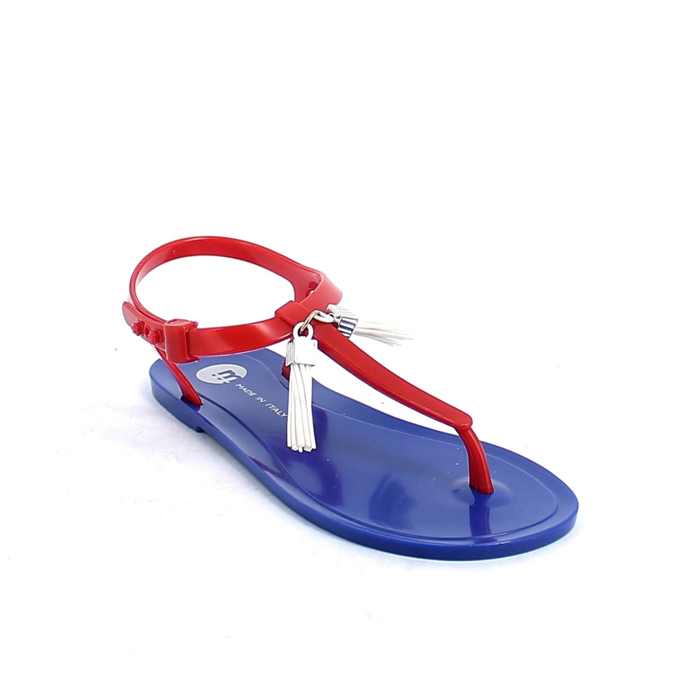 Pvc Flip flop sandal with buckle and plastic loop with tassels; pad printing on the insole