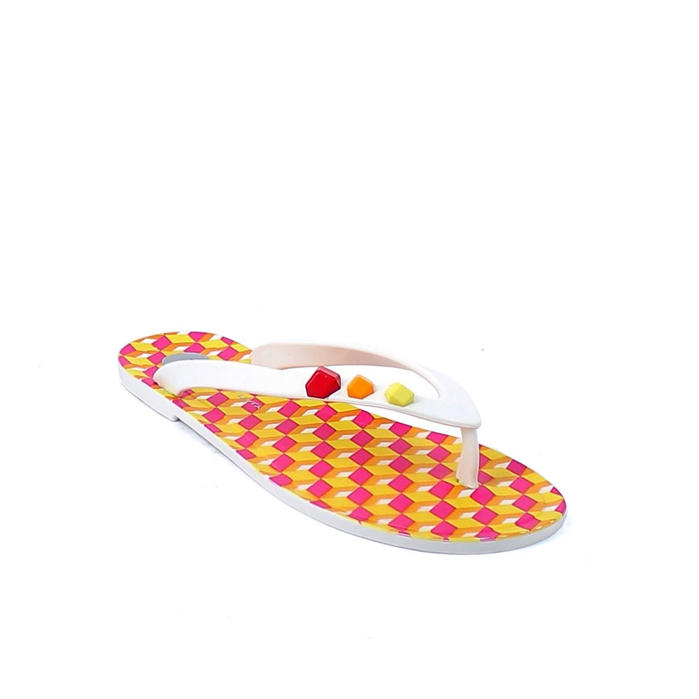 Pvc flip flop with application of imitation stones in three colours; digital fuxia cubes print and pad printing on the insole