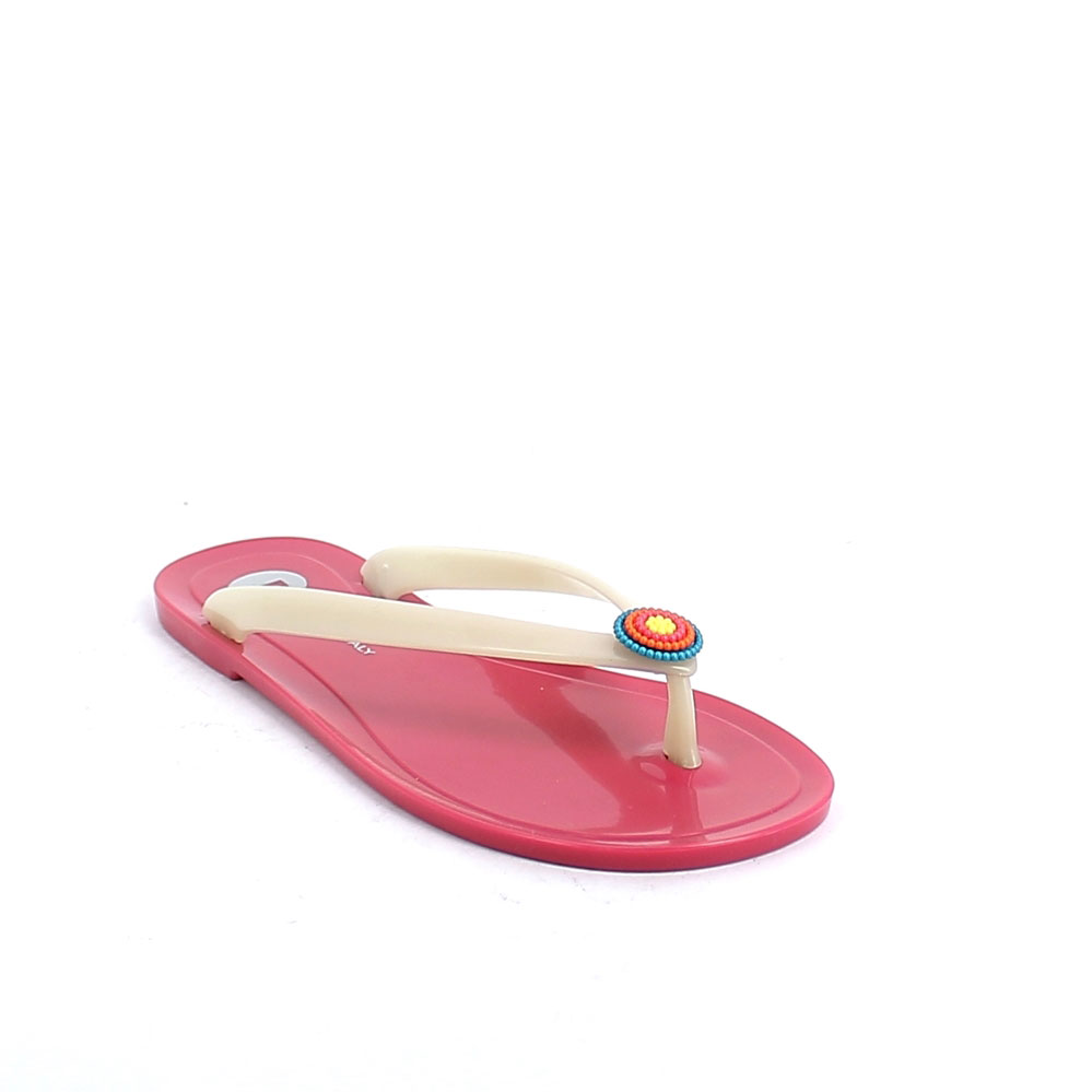 Pvc flip flop with luminescent upper and multicolour flower application; pad printing on the insole