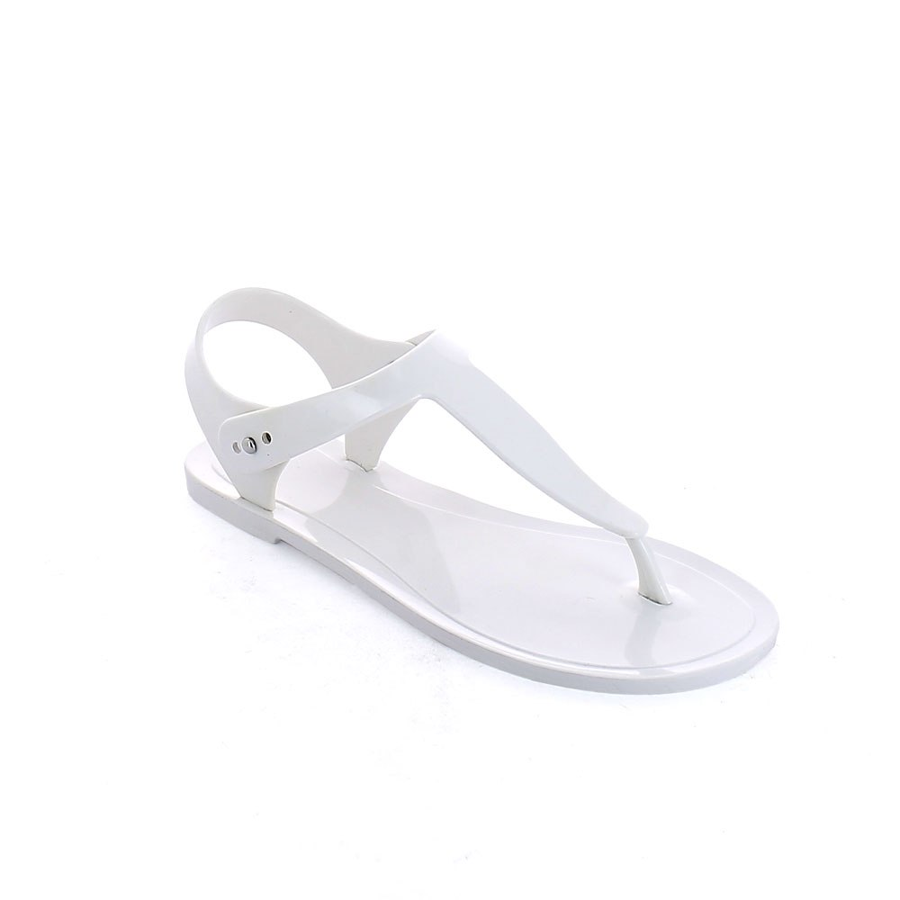 Bright finish Pvc flip flop sandal with metal peg fastening