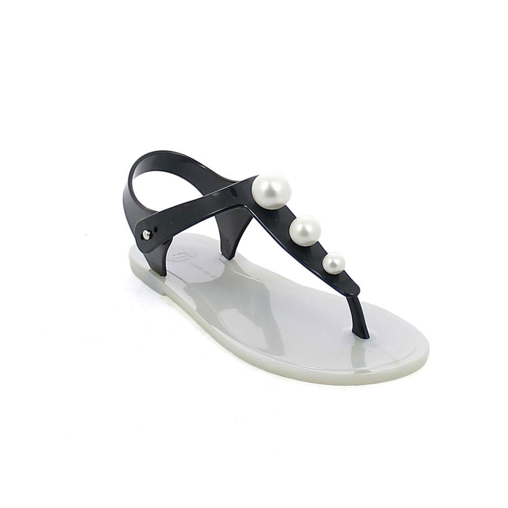 "Flip flop ""Gladiator"" pvc sandal with three pearls on the upper, pad printing insole and pearly colour outsole"