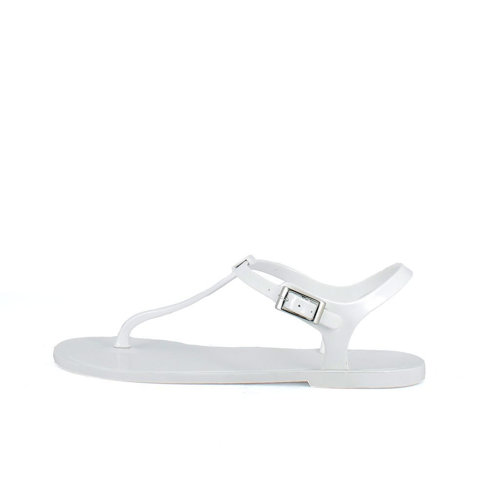 Flip flop mule made of bright finish two-colour pvc with large upper