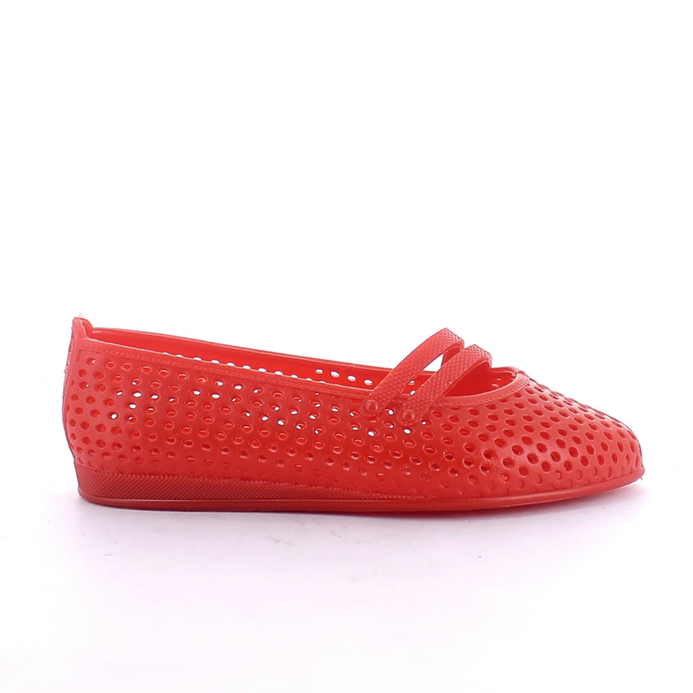 Solid colour pvc ballet flat with perforated upper and little lace