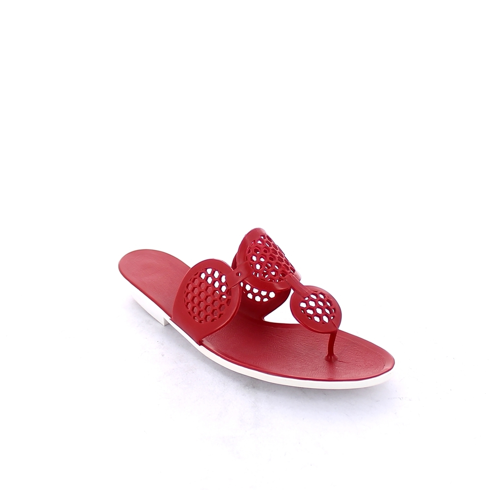 Two-colour pvc flip flop mule with perforated circle shaped upper