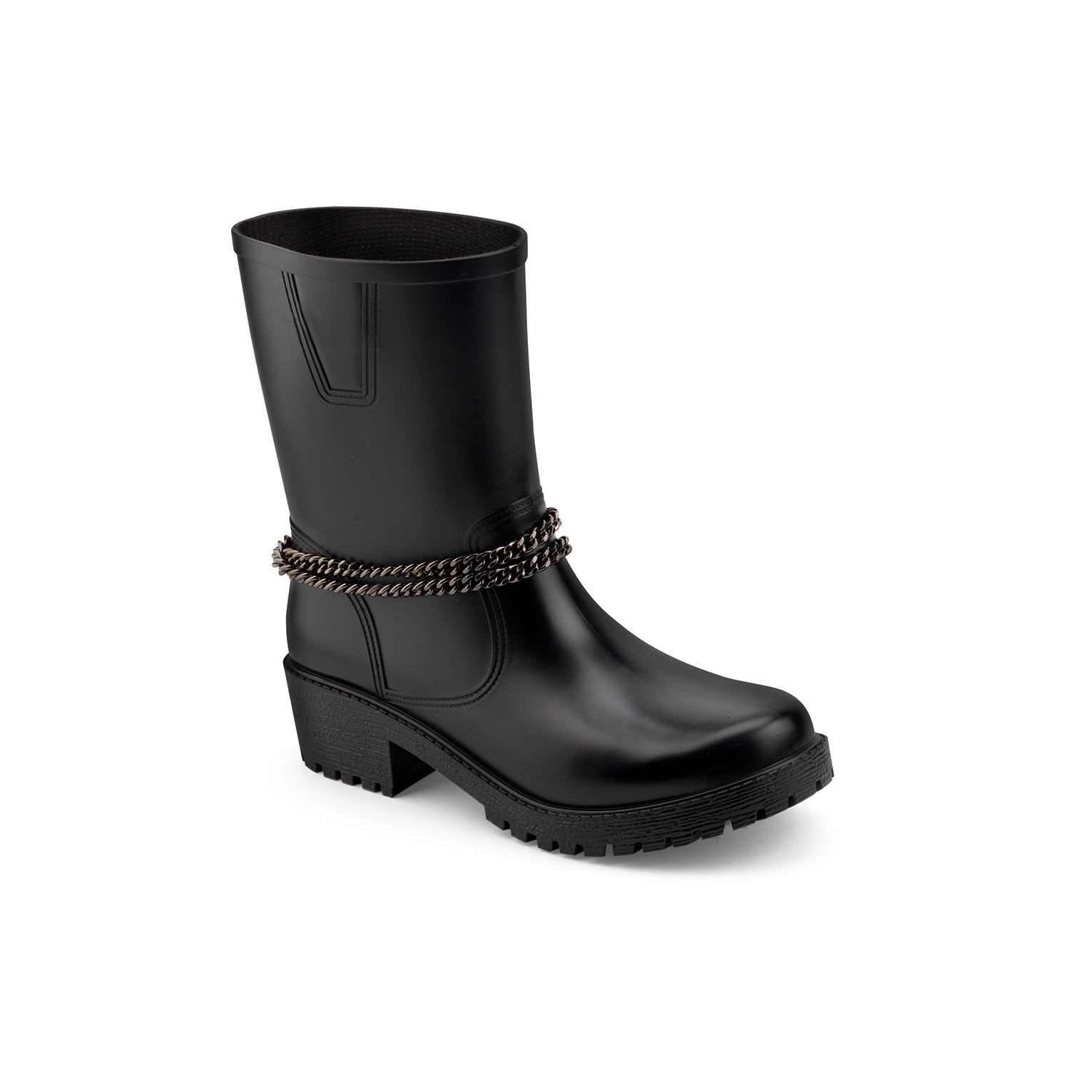 Matt finish pvc biker boot model with ankle double chain. Made in Italy