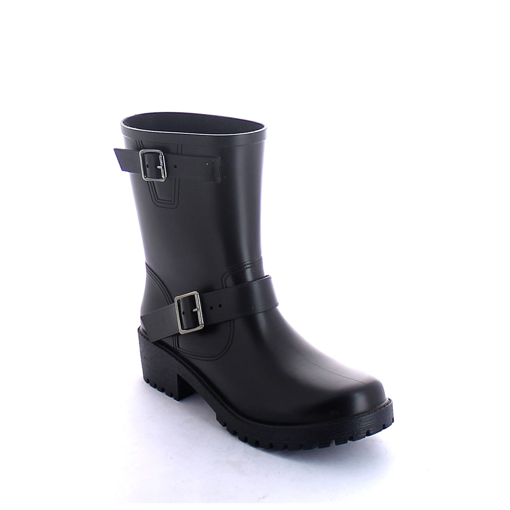 Ankle boot in pvc with matt finish, biker style with double strap