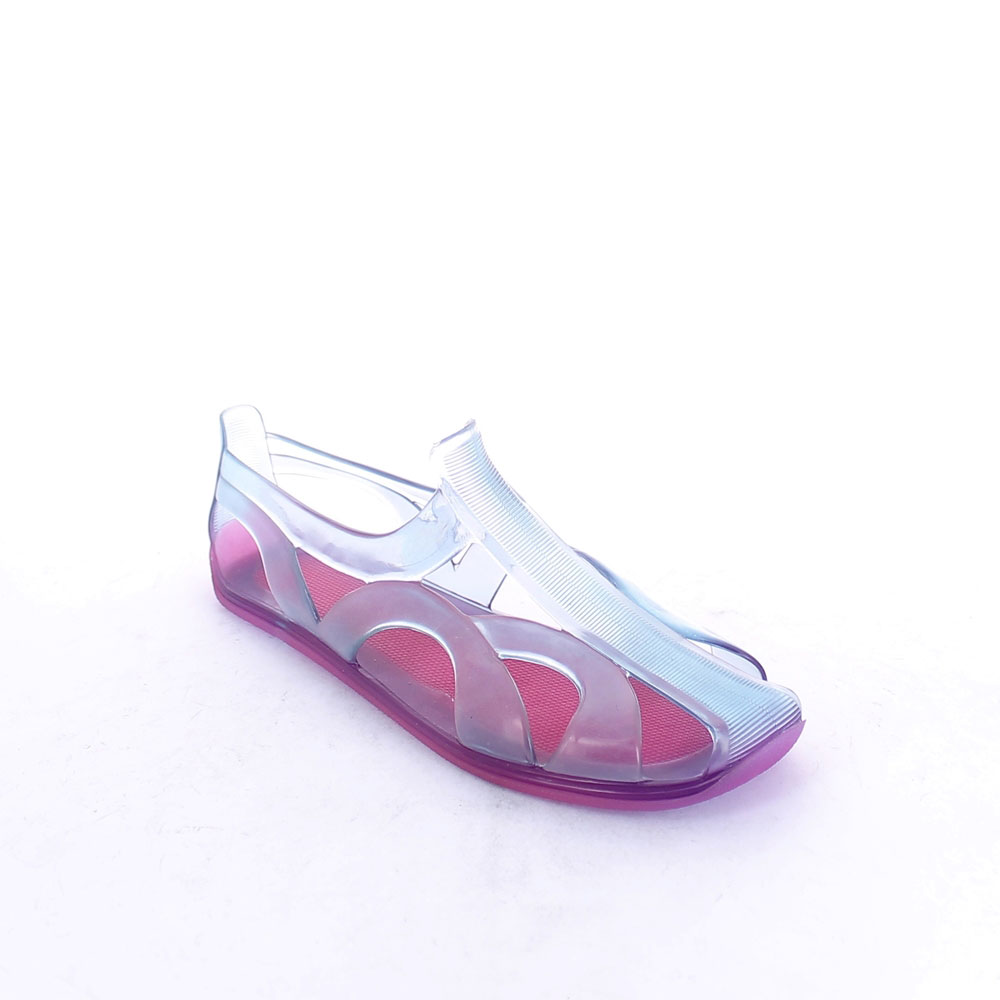 Two-colour pvc shoe with bright finish and lateral openings