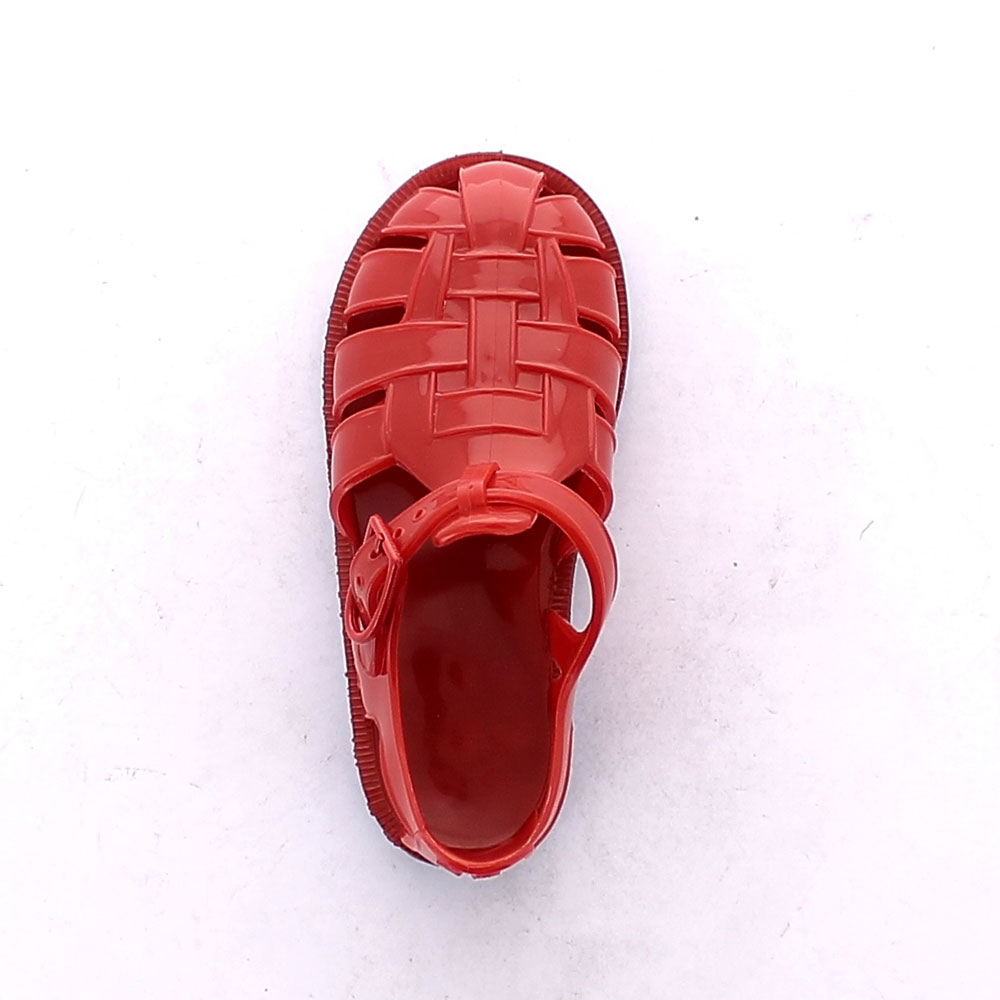 Two-colour pvc sandal with bright finish. Made iln Italy