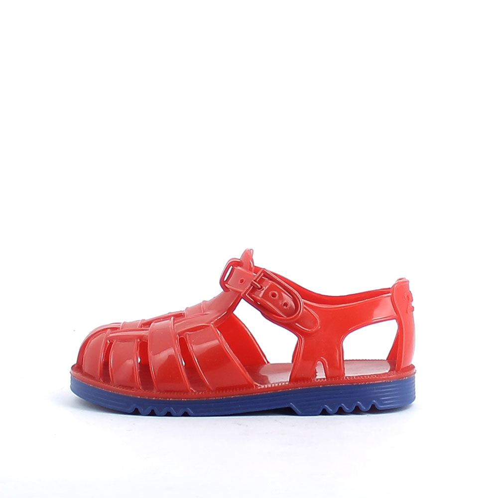 Two-colour pvc sandal with bright finish. Made iln Italy 50-38 profilo