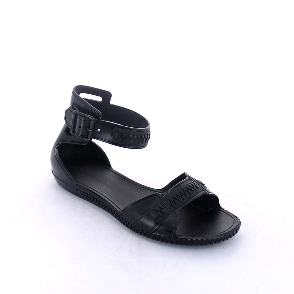 Matt finish pvc sandal with band upper, backstrap and sole outline with embossed imitation zip fastener