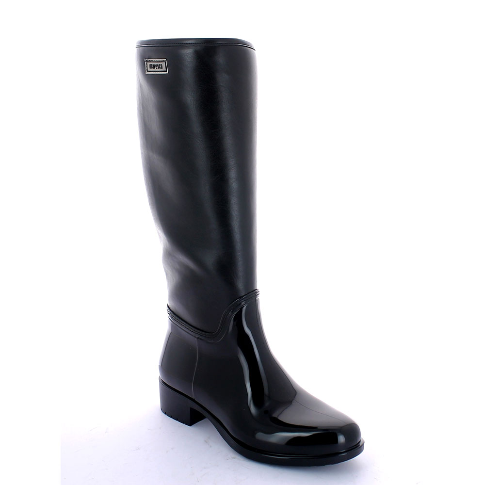 Pvc galosh with high bootleg made of smooth leatherette and synthetic sheared faux fur inner lining and wool foot lining