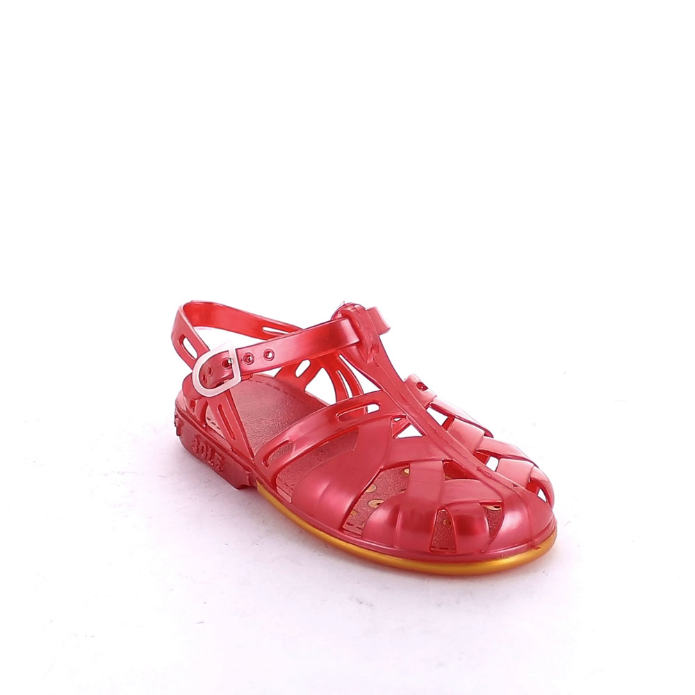 Two-colour pvc sandal with braided effect upper