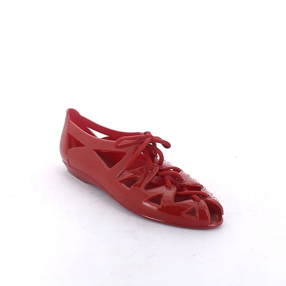 Solid colour pvc sandal with lateral opening and lace