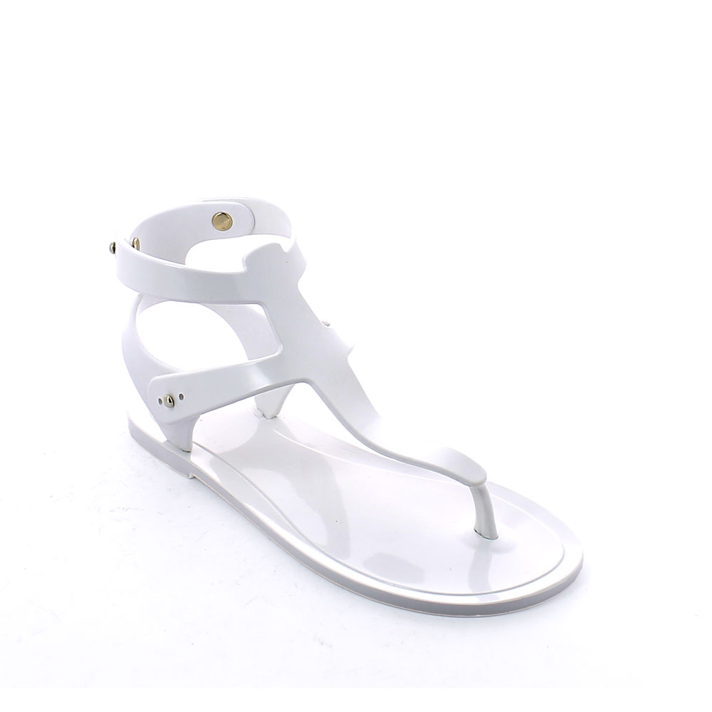 Gladiator sandal made of solid colour pvc with bright finish