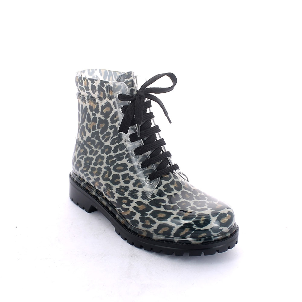 "Short laced up boot in transparent pvc with bright finish and cut and stitched lining with pattern ""White and black Maculato"""