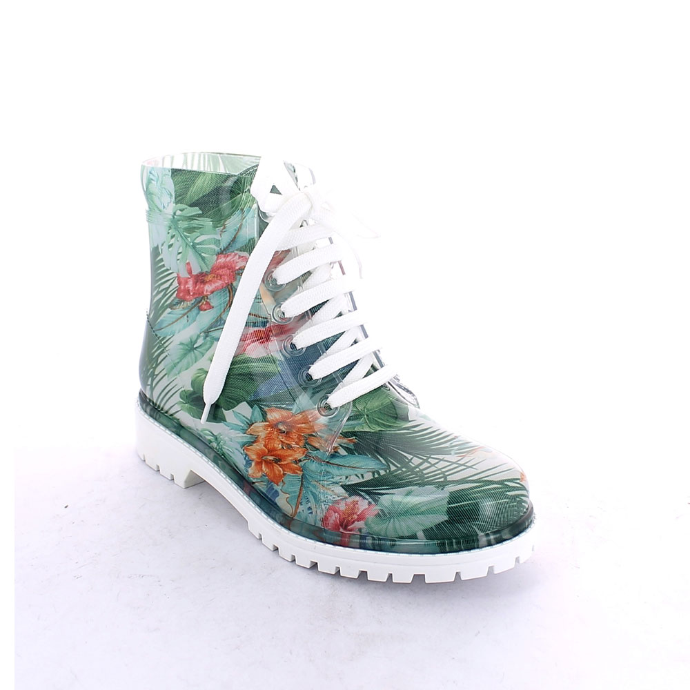 "Short laced up boot in transparent pvc with bright finish and cut and stitched lining with pattern ""Green Tropical Flowers"""