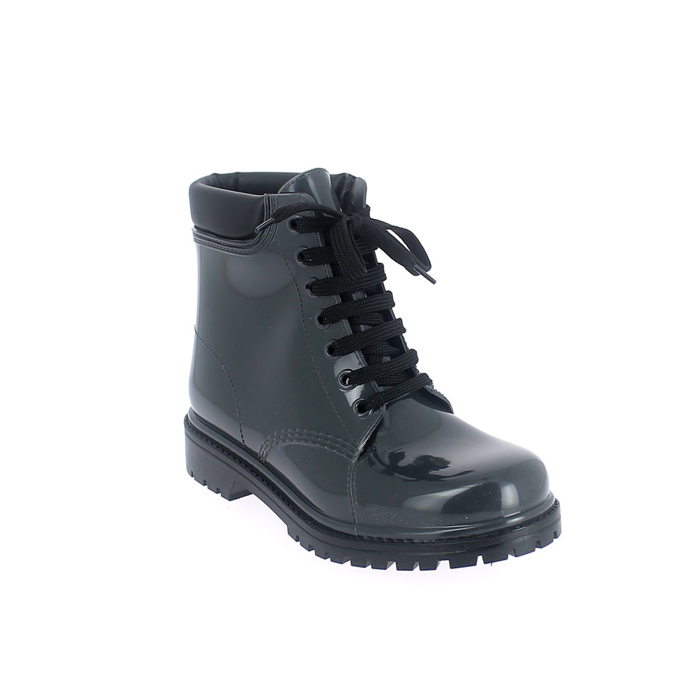 Short laced up boot in pvc with bright finish and padded trim. Made in Italy