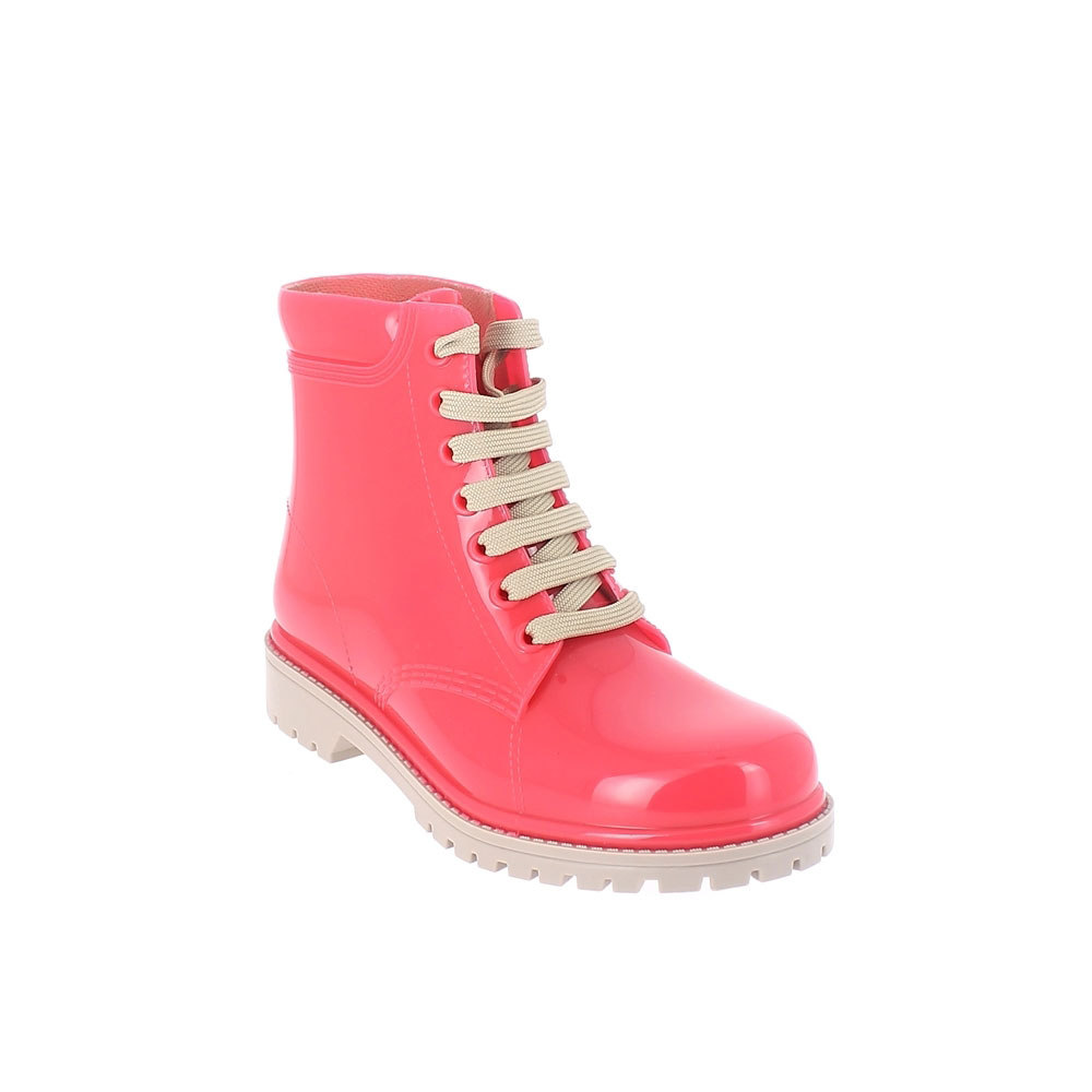 Short laced up boot in two-colour pvc with bright finish. Made in Italy