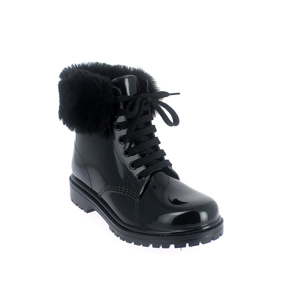 Short laced up boot in bright finish pvc with felt inner lining and synthetic fur