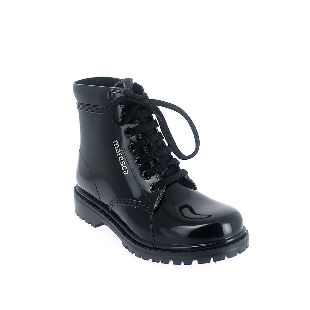 Short laced up boot in pvc with bright finish + 3D Lettering . Made in Italy
