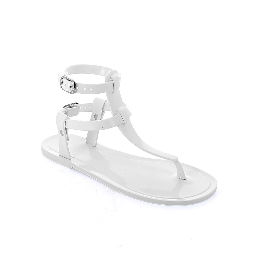 Two-colour pvc flip flop sandal with straps at ankle height