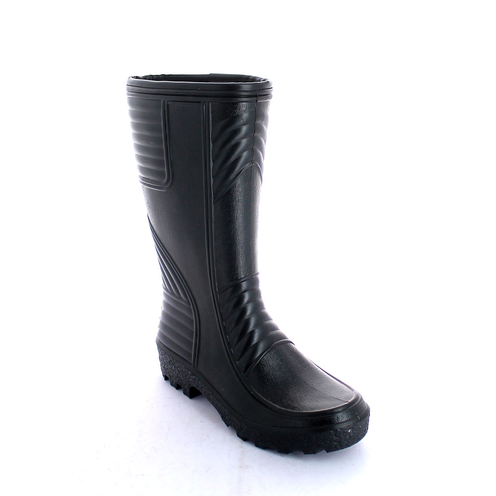 Pvc Knee Boot , with trimmed boot leg and synthetic wool inside lining