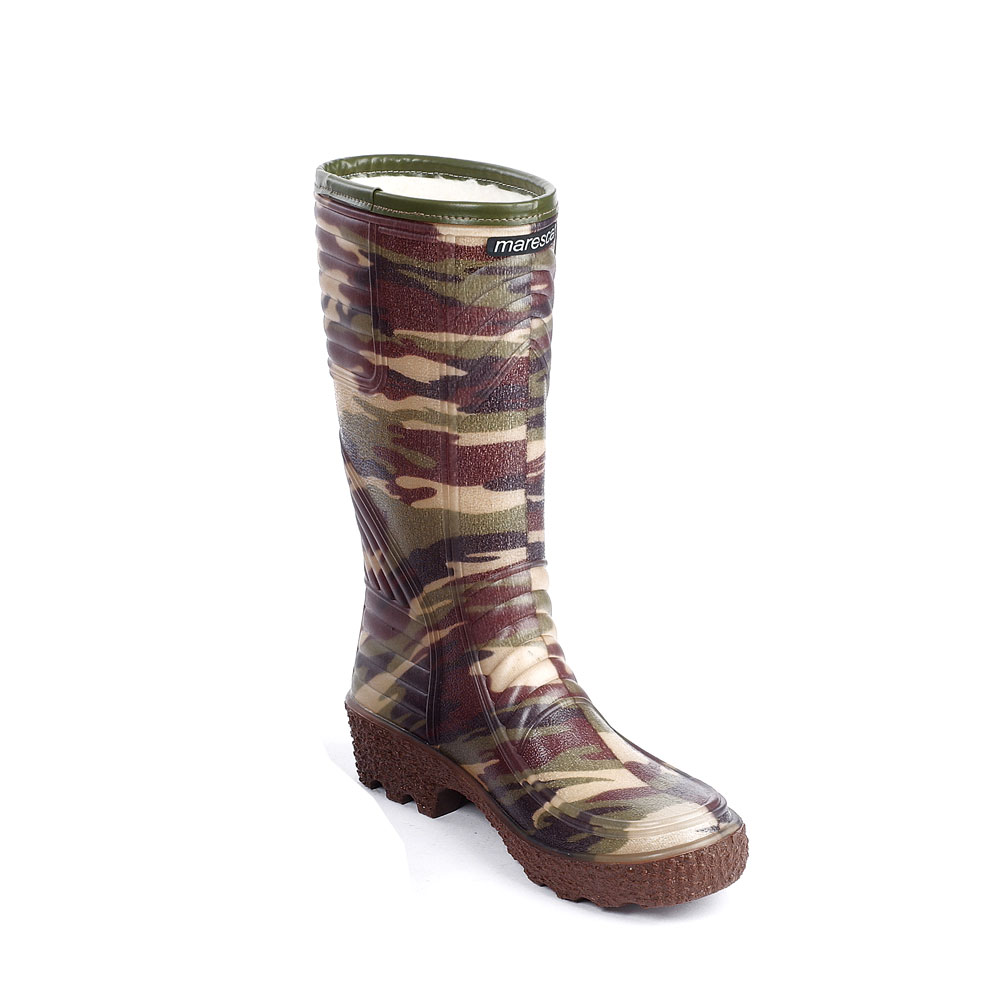 Transparent Pvc Knee Boot wit mimetic pattern sock, trimmed boot leg and synthetic wool inside lining