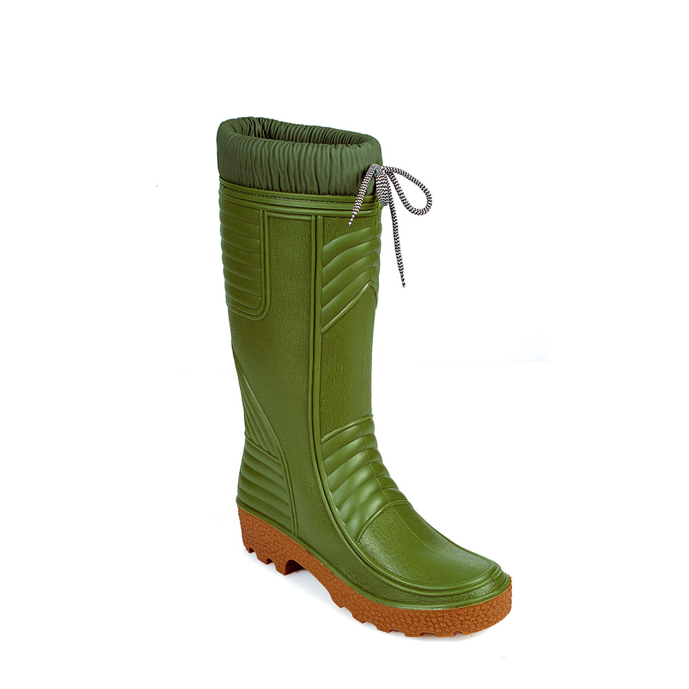 Pvc Knee Boot , with shirred collar and synthetic wool inside lining
