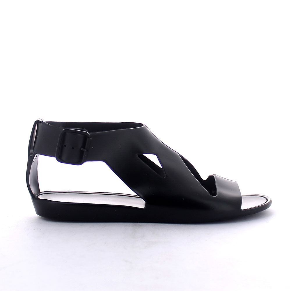 Solid colour bright finish pvc Sandal with open band upper and lateral buckle at ankle height