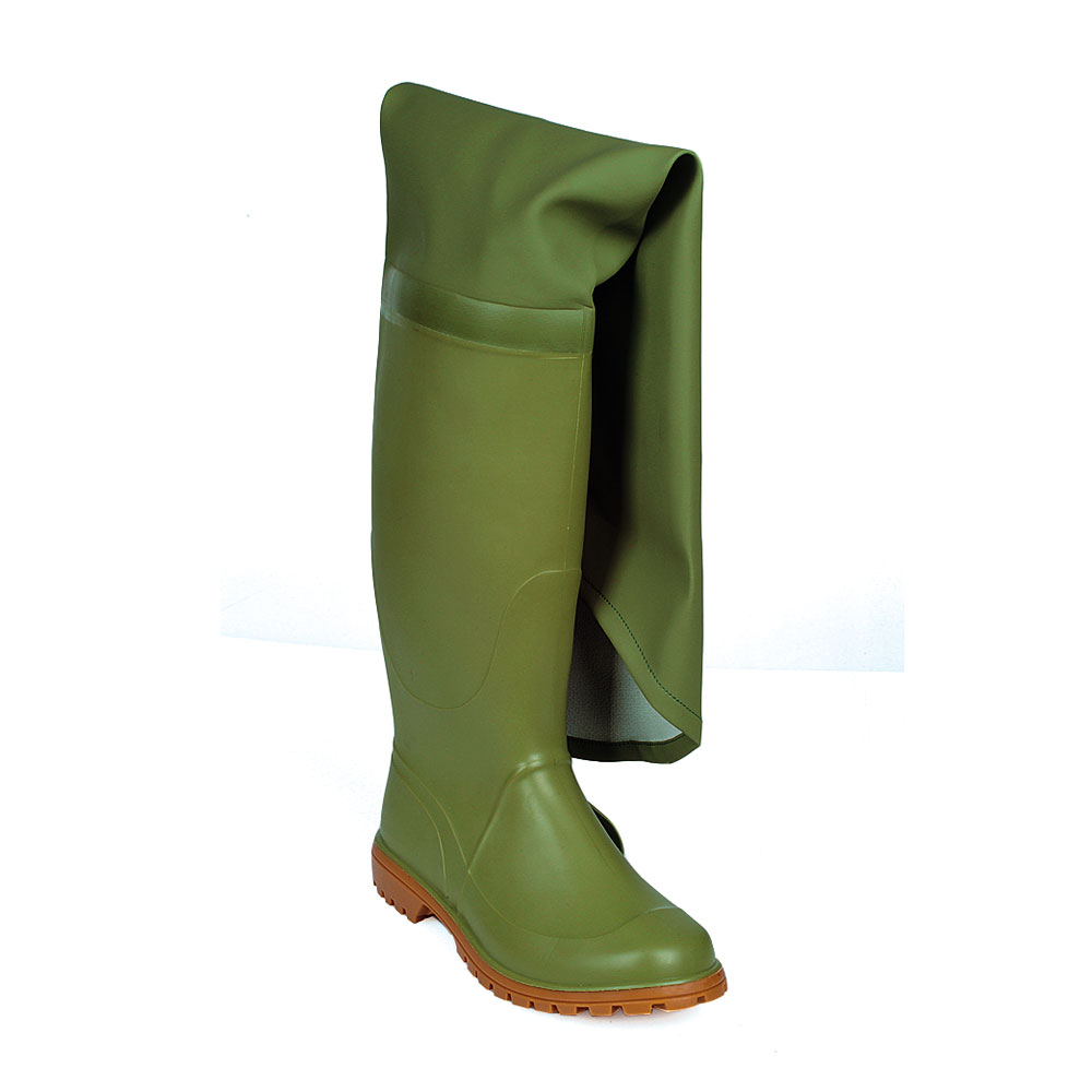 Two-colour pvc all thigh high fishing Boot with lug outsole.