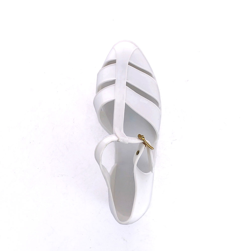 Two-colour Bright finish pvc sandal with closed toe