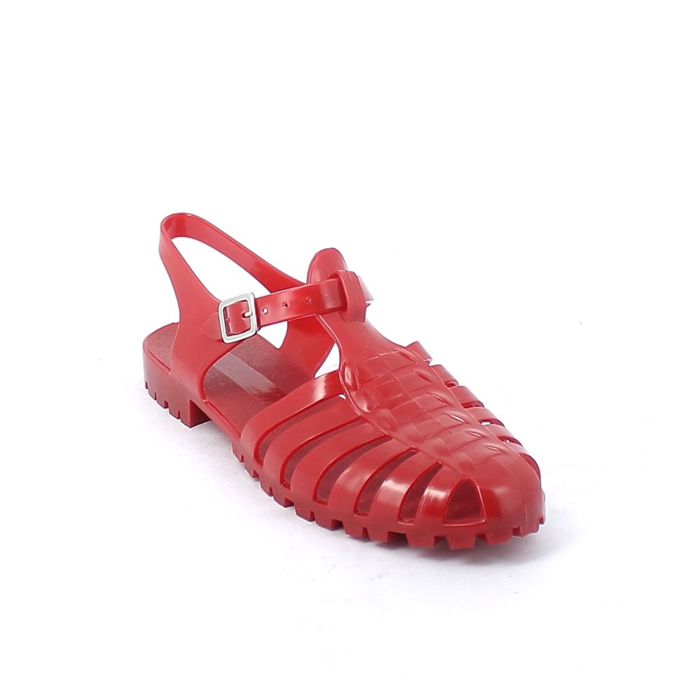 Solid colour pvc sandal with strap and metal buckle end; pad printing on the insole