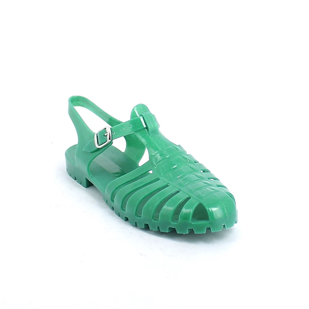 Pvc sandal with semi-transparent upper with glitters; strap with metal buckle