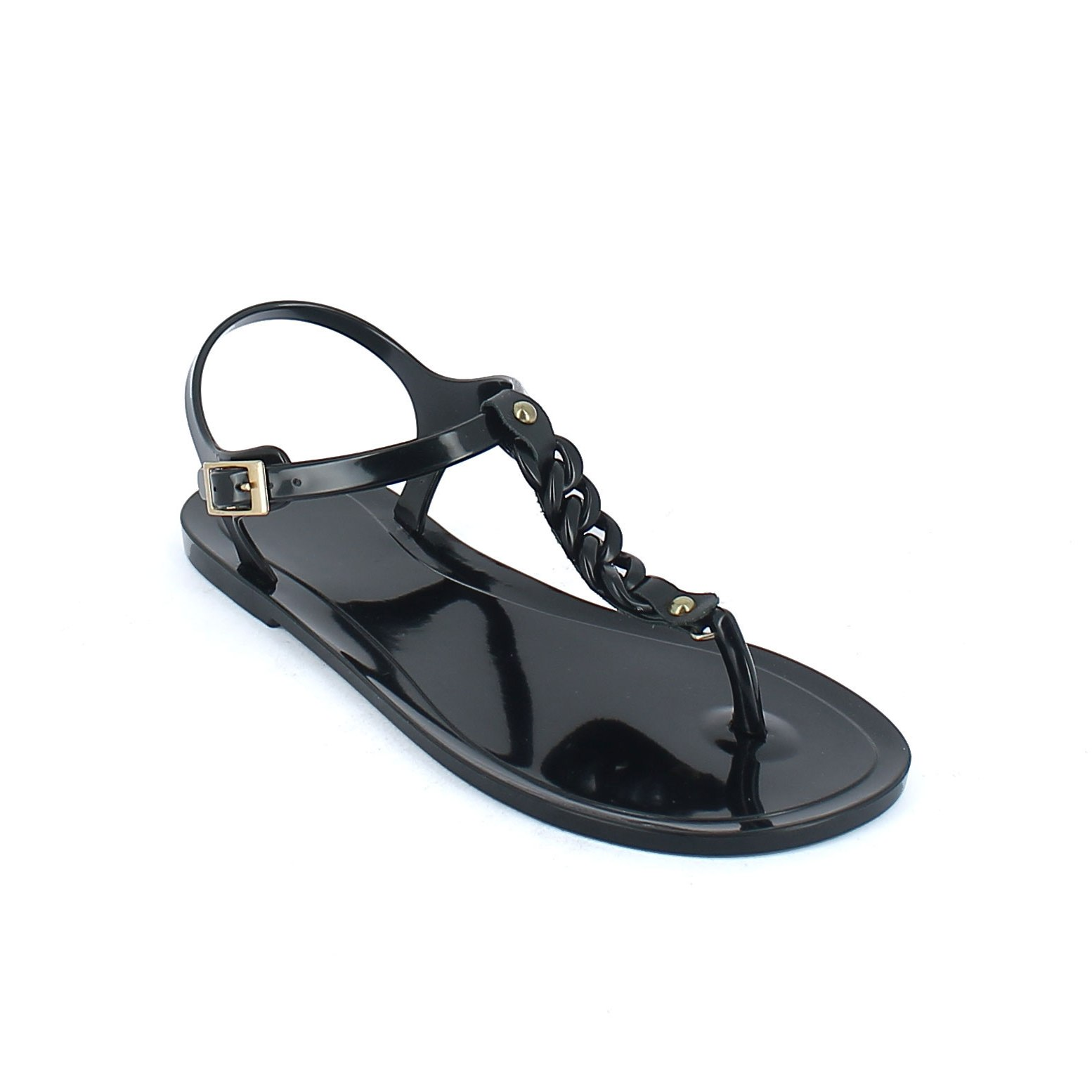 Solid colour bright finish pvc sandal with a small chain on the foot instep