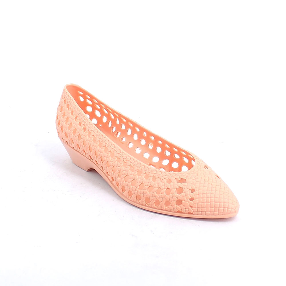 Pvc ballet flat with net perforated upper without customization