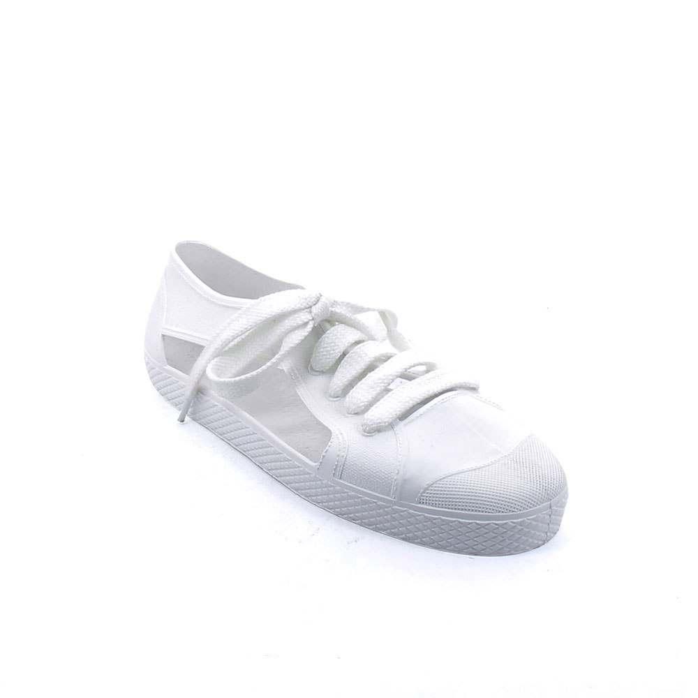 Solid colour matt finish pvc Sneaker shoe with laces