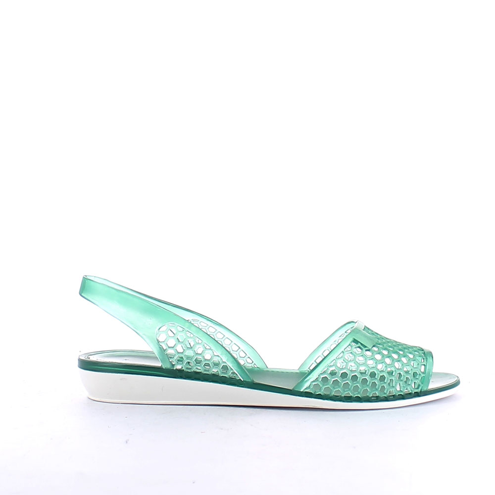 Two-colour pvc perforated sandal with open toe and backstrap