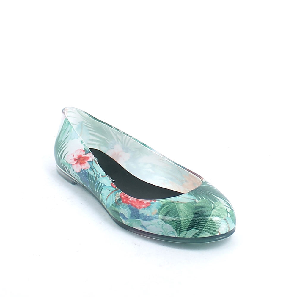 "Transparent pvc Ballet flat  with cut& sewn ""Green Tropical flowers"" inner sock and insole pad printing"