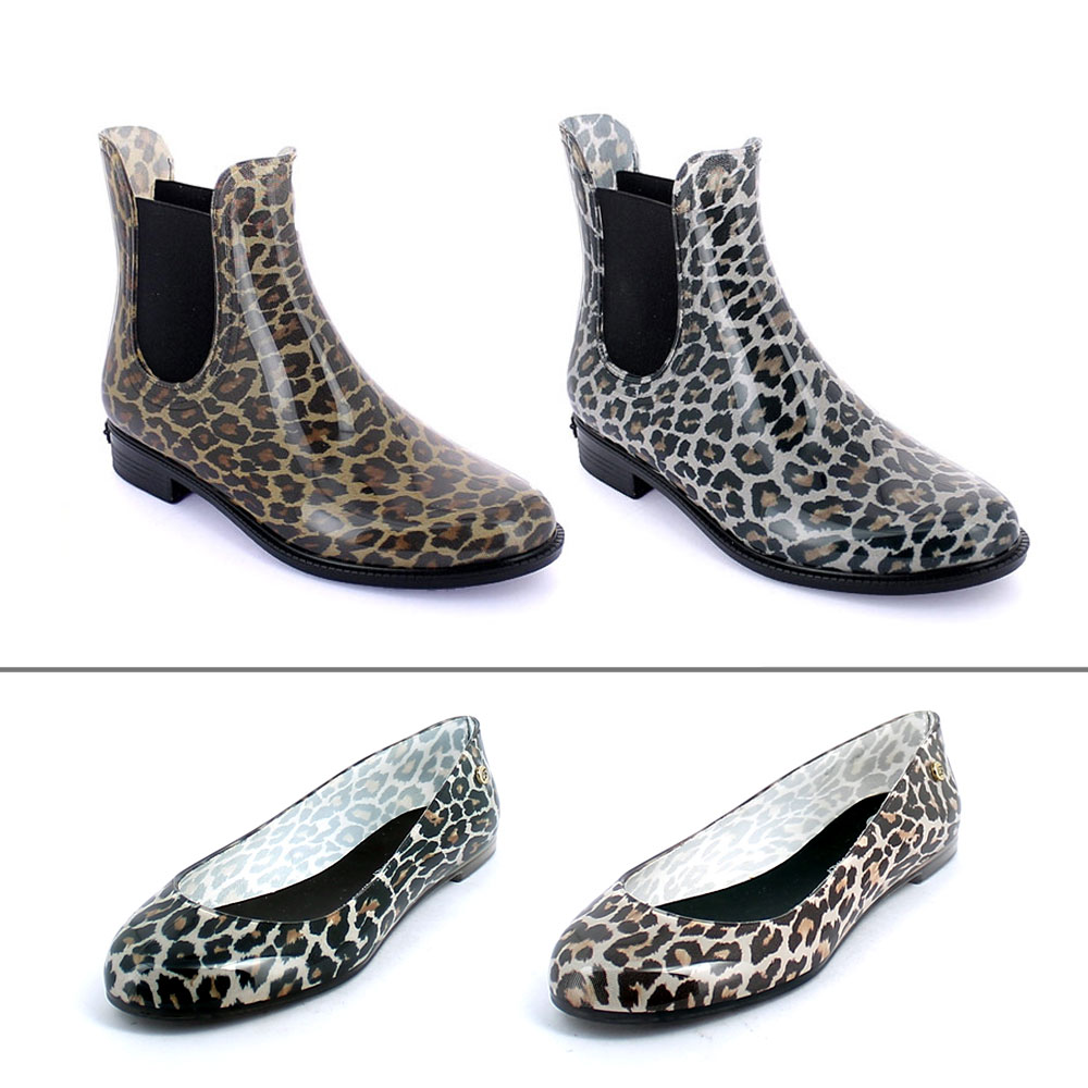 Leopard print in two colour variants on chelsea boot and on ballet flat shoe