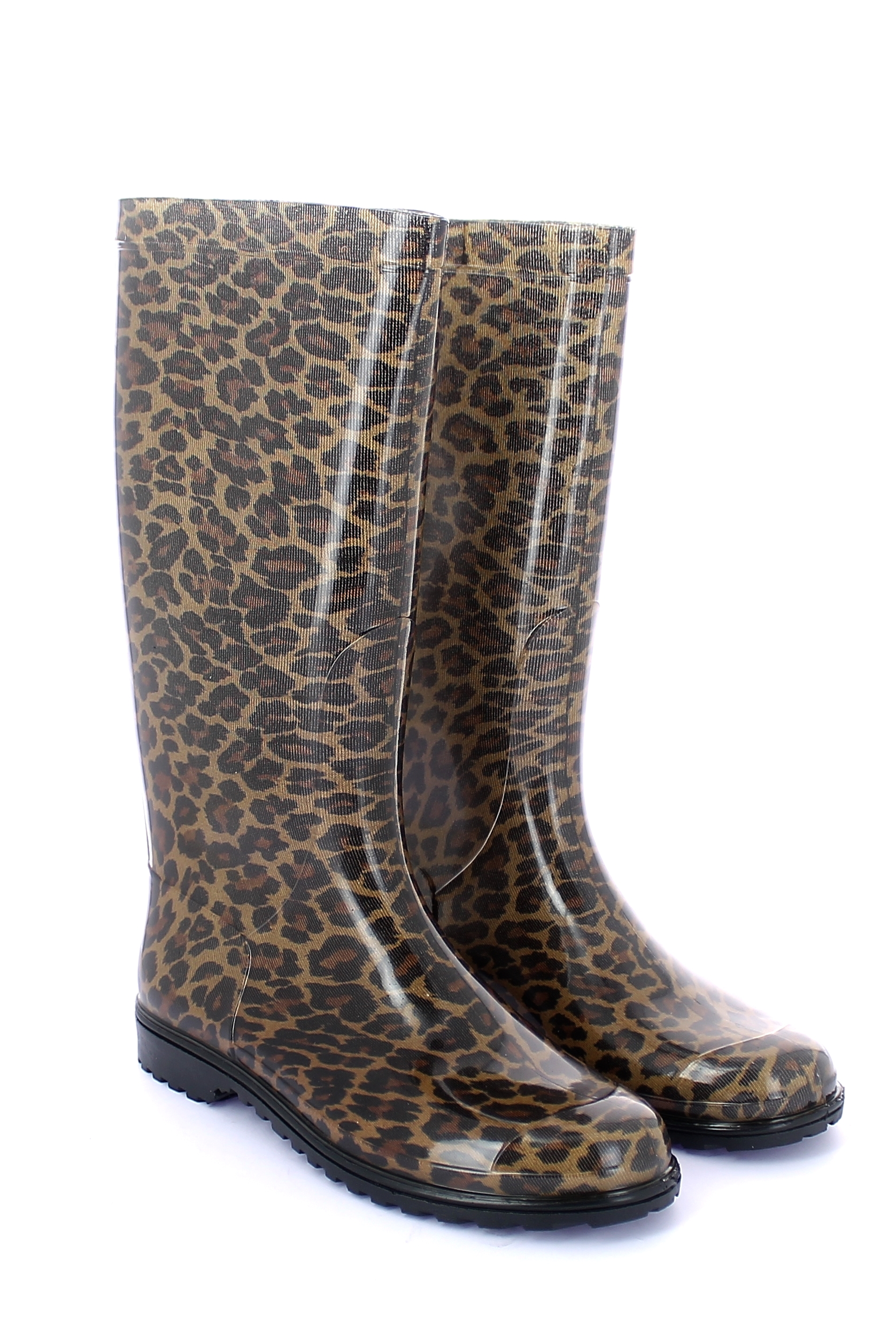 Leopard pattern tubular sock inside a pvc boot with bright finish