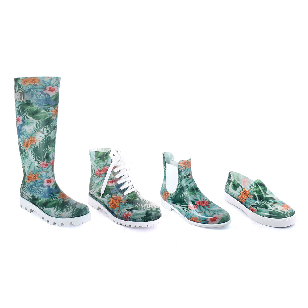 """Tropical Flowers"" fantasy inner stocking moulded on different models of pvc shoes"